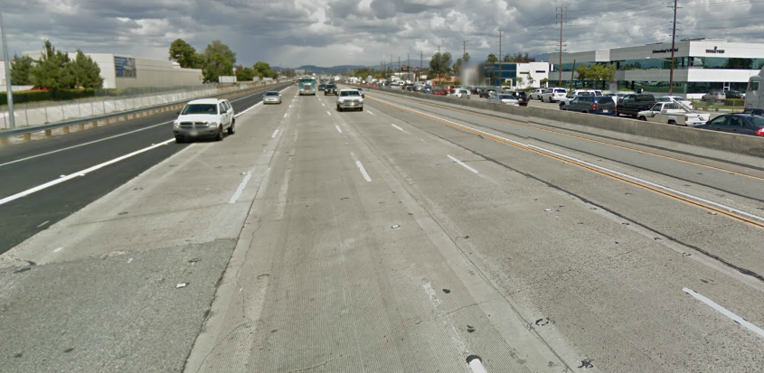 Southbound Costa Mesa Freeway, just north of MacArthur Boulevard